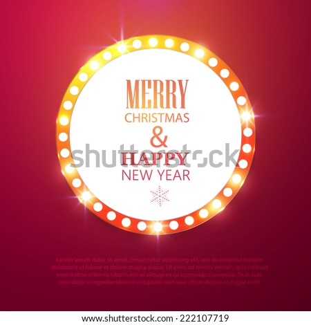 Merry Christmas light billboard. Vector illustration  - stock vector