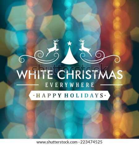 Merry Christmas message and light background with snowflakes. Vector illustration Eps 10.  - stock vector