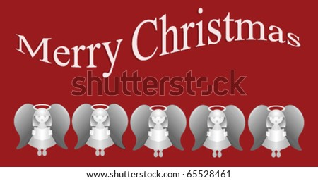 Merry Christmas message with five carol singing angels - stock vector