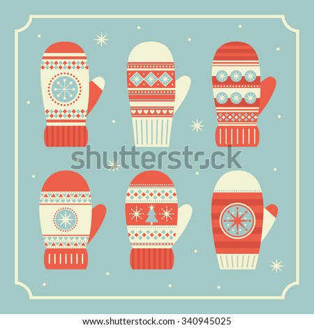 merry christmas mittens collection. vector illustration - stock vector