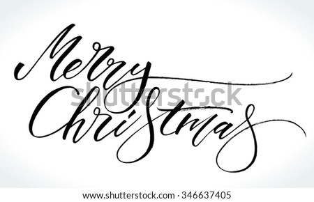 Merry Christmas modern calligraphy. Handwritten letters, vector illustration. - stock vector