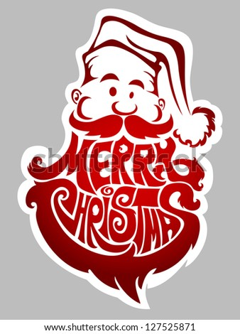 Merry Christmas - new year's label with Santa Claus - stock vector