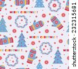 Merry Christmas. New Year seamless pattern. Xmas background. - stock