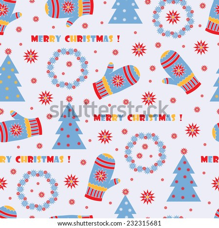 Merry Christmas. New Year seamless pattern. Xmas background. - stock vector