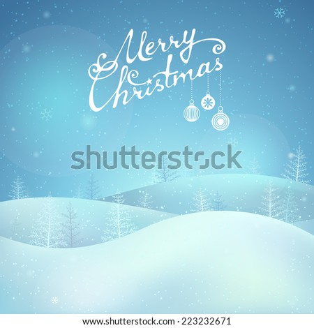 Merry Christmas night landscape. Hand-written text. There is place for your text. - stock vector