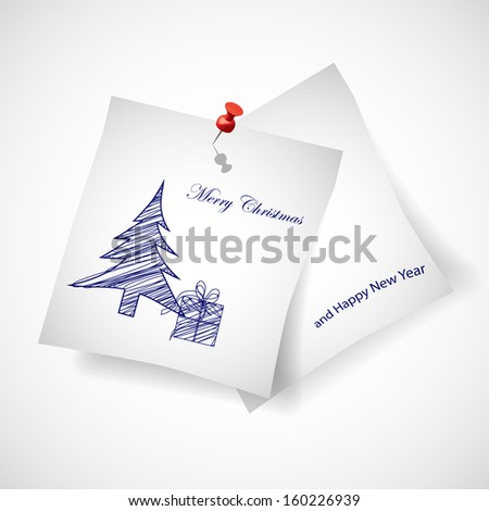 Merry Christmas Note Paper Vector with tree and gift - stock vector