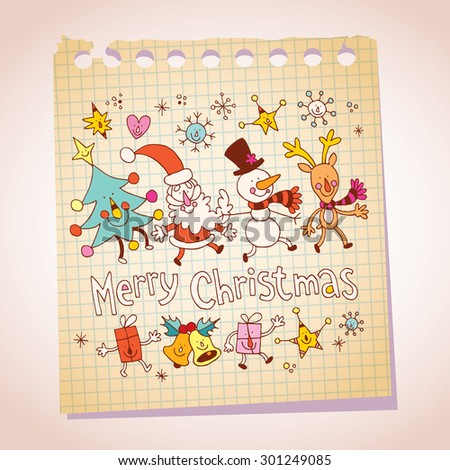 Merry Christmas notepad paper message greeting - stock vector
