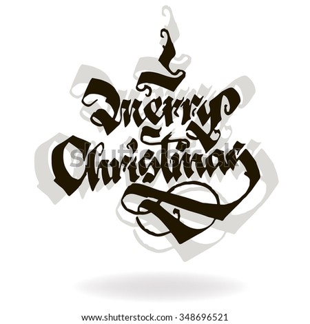 MERRY CHRISTMAS original custom hand lettering typography background for romantic photo cards/ party invitations for Christmas Holidays - stock vector