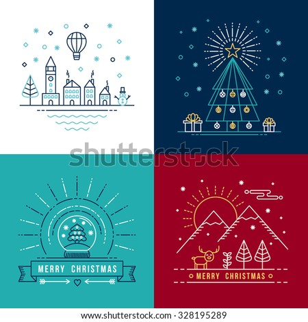Merry christmas outline label set with winter city, xmas tree, snow globe, and reindeer elements. Ideal for holiday invitation or greeting card. EPS10 vector. - stock vector