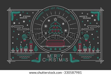 Merry Christmas outline style design with snow globe pine tree badge, city, holly and winter elements. Ideal for holiday poster or xmas greeting card. EPS10 vector. - stock vector