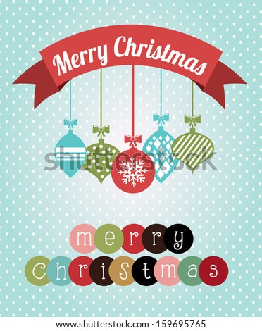 merry christmas  over  dotted background  vector illustration  - stock vector