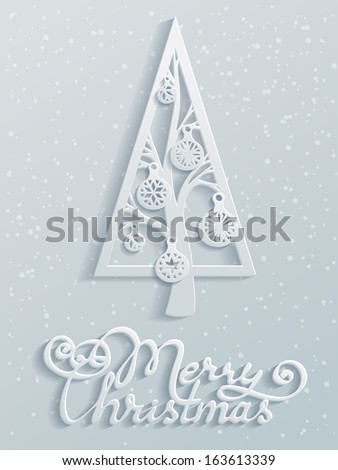 Merry christmas. Paper design. Festive spruce with Christmas balls. Hand-written text. Vector illustration for your design. Christmas template. Blank space for your text. Vector greeting card. - stock vector