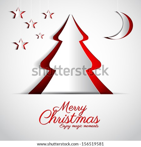 Merry Christmas paper tree design greeting card with stars and moon - stock vector