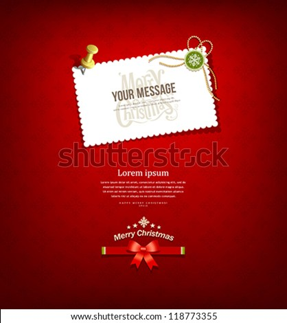 Merry christmas paper white card message, vector illustration - stock vector