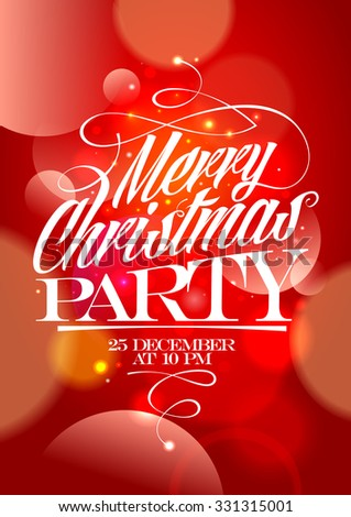 Vector Merry Christmas Party Poster Paper Stock Vector 518931937 ...