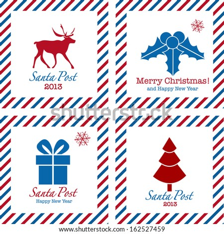 Merry Christmas postal stamps: gift, tree, deer and holly - stock vector