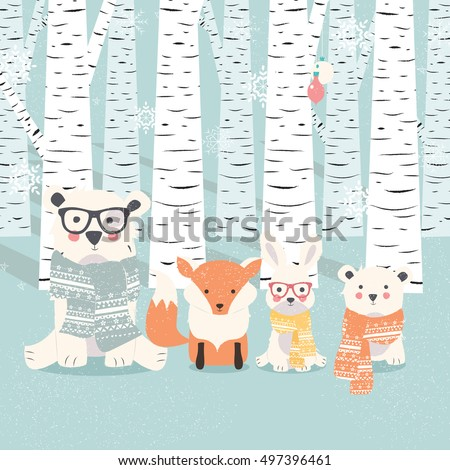 Merry Christmas postcard with bears, fox and rabbit in forest, vector illustration