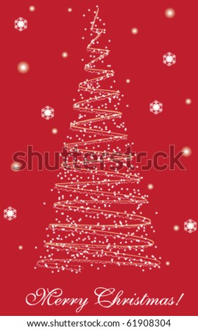 Merry Christmas postcard with red background - stock vector