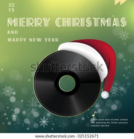 Merry Christmas poster design with vinyl record - stock vector