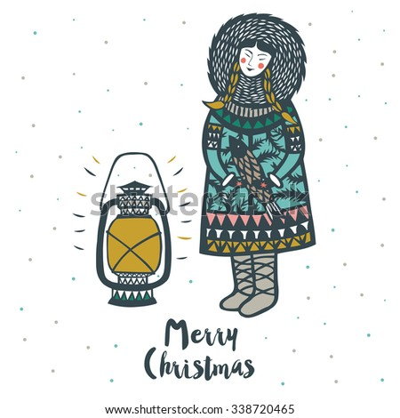 Merry Christmas Print Design. Eskimo girl with fish and lantern. Vector illustration. - stock vector