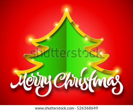 Merry Christmas red card with handdrawn calligraphic lettering and green fir tree sign with golden border and sparkles