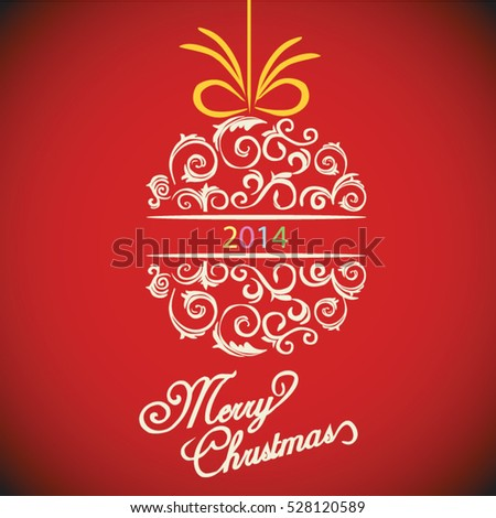 Merry Christmas red ornament greeting card design vector