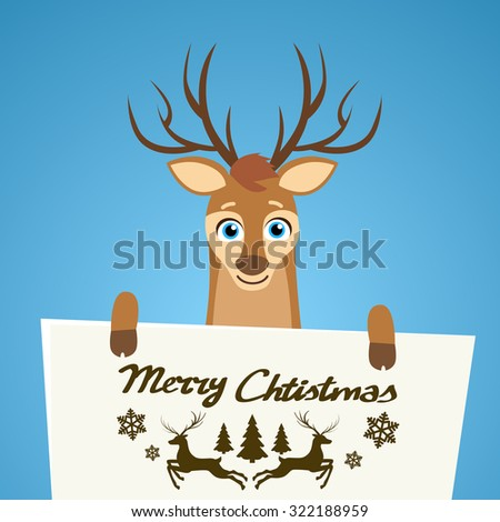 Merry Christmas Reindeer Cartoon Character Poster Santa Helper Greeting Card Hold Placard Sign Board Blank with Copy Space Flat Vector Illustration - stock vector