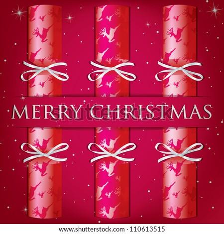 Merry Christmas reindeer cracker card in vector format. - stock vector