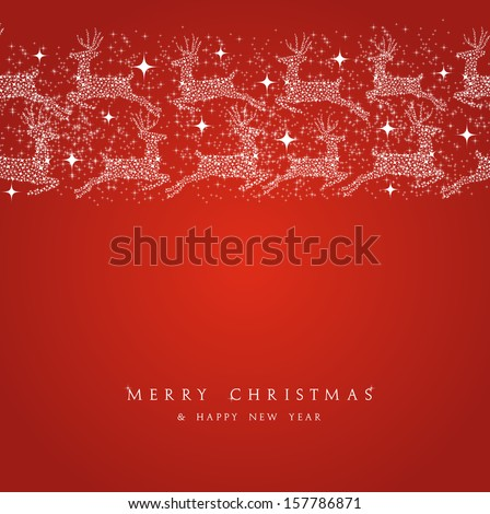 Merry Christmas reindeer decorations elements seamless pattern border. Vector file organized in layers for easy editing.  - stock vector