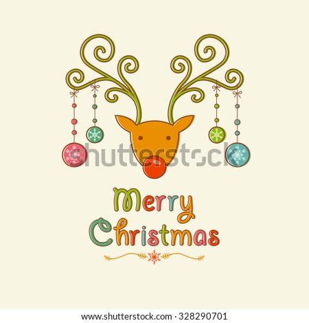 Merry Christmas Reindeer Design - stock vector