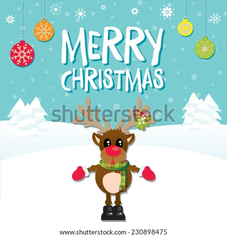 Merry Christmas Reindeer on a Blue Snowy Background with Christmas Baubles - stock vector