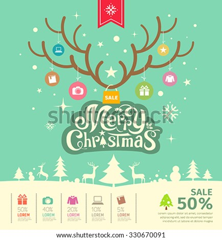 Merry Christmas reindeer sale concept on green background, vector illustration - stock vector