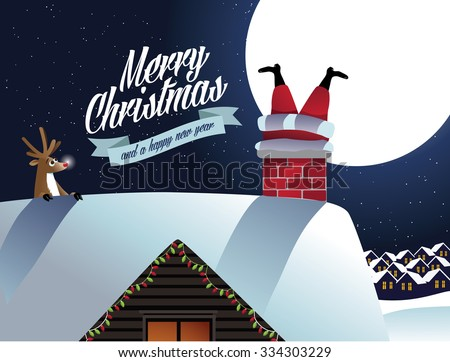 Merry Christmas Reindeer sees Santa Claus stuck in the chimney. EPS 10 vector, grouped for easy editing. No open shapes or paths.