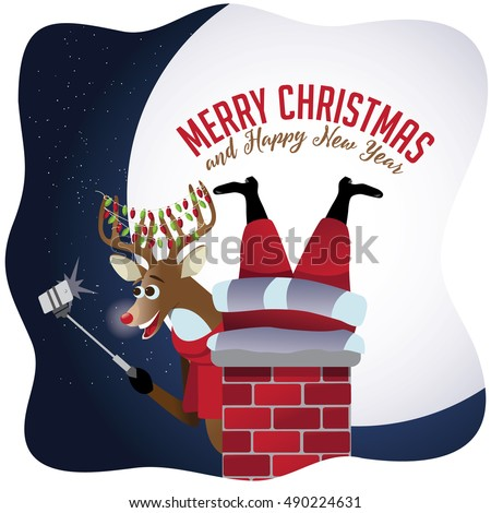 Merry Christmas Reindeer takes a selfie with Santa Claus stuck in the chimney. EPS 10 vector.