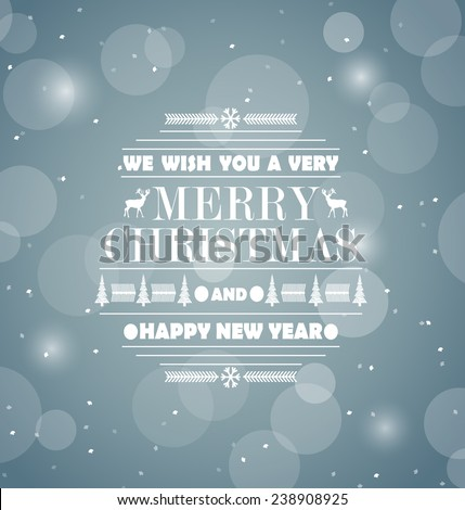 Merry Christmas Retro abstract design greeting card. Happy New Year message. Vector illustration.  - stock vector