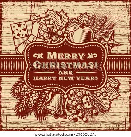 Merry Christmas Retro Card Brown. Fully editable vector. - stock vector