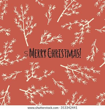 Merry Christmas retro card or poster in vector - stock vector
