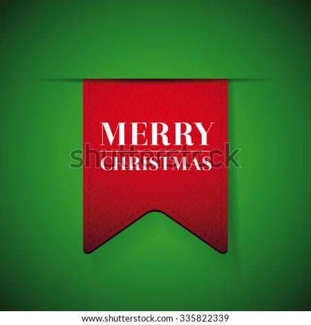 Merry Christmas ribbon vector lettering - stock vector