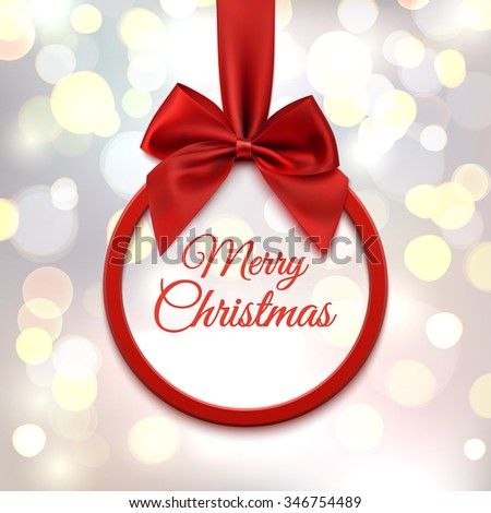 Merry Christmas, round banner with red ribbon and bow, on abstract, blurred background with bokeh circles. Vector illustration. - stock vector