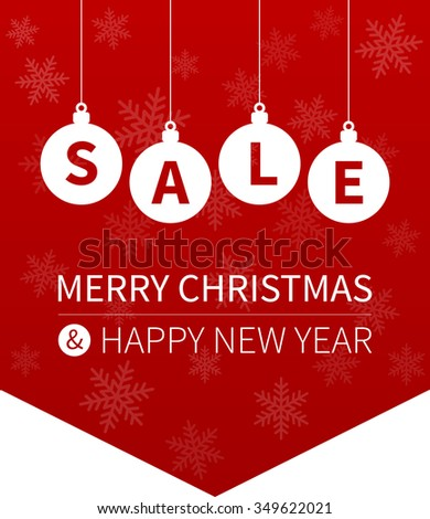 Merry Christmas sale promotion website hanging banner flag - stock vector