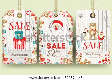 Merry Christmas Sale Tags in Retro Style. Holiday Discounts. Vector Illustration.