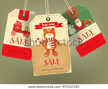 Merry Christmas Sale Tags In Retro Style Vintage Toys Vector Illustration