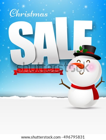 Merry christmas sale text with snowman vector illustration eps10 003