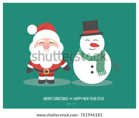 Merry Christmas. Santa Claus And Snowman Together. Funny Cartoon Characters  Of New Yearu0027s.