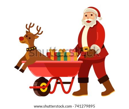 Merry Christmas! Santa Claus bring gift and reindeer with wheelbarrow on Christmas vector illustration