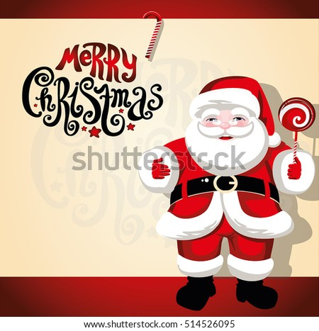"Merry Christmas. Santa Claus. Christmas background. Red. lettering ""Merry Christmas"""