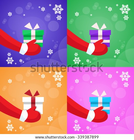 Merry Christmas Santa Claus Hands Hold Gift Box Set Collection Greeting Card New Year Present Flat Vector Illustration