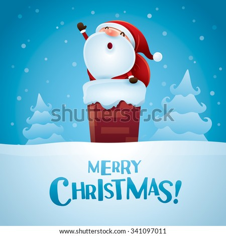Merry Christmas! Santa Claus is coming. - stock vector