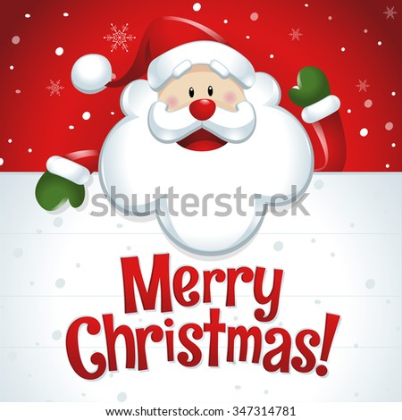 Merry Christmas! Santa Claus with big white sign in red background - stock vector
