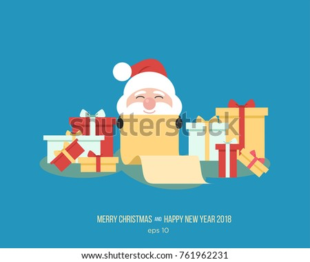 Superior Merry Christmas. Santa Claus With Gifts For Kids. Funny Cartoon Character  Of New Yearu0027s
